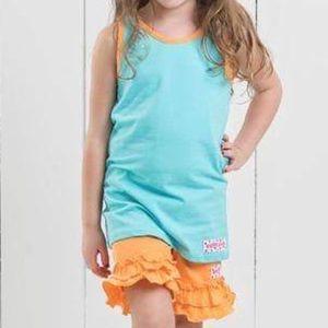 Ruffle Girl Matching Sets - Ruffle Girl Aqua Tank & Orange Ruffle Short Set
